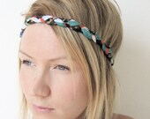 The Braided Headband- In Vintage geometric print, bohemian style
