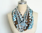 The Infinity Scarf in Brown and Turquoise Southwest Print