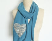 Turquoise Scarf, Soft Sweater Knit with Khaki Lace Heart