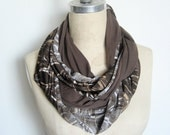 The Infinity Scarf, Double Loop in Wood Grain Print and Chocolate Brown, On Sale