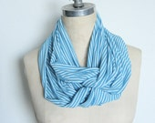 The Infinity Scarf in White and Turquoise Stripe
