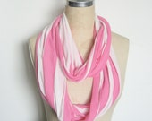 Jersey Infinity Circle Scarf, Spring Weight White and Neon Pink Stripe