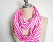 Stripe Infinity Scarf In White and Pink Jersey Stripe