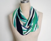 The Infinity Scarf in Navy, White and Emerald Green Stripe