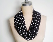 The Infinity Scarf in Black and White Polka Dot Print