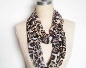 Infinity Circle Scarf, Soft Knit Classic Leopard Print