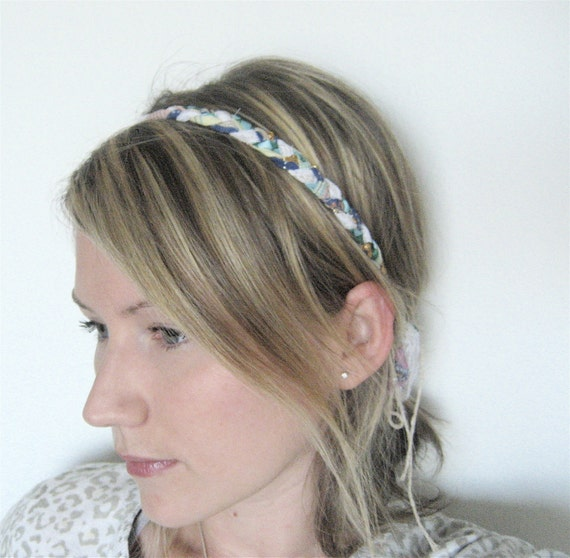 The Braided Headband- Blue, yellow and green bohemian style