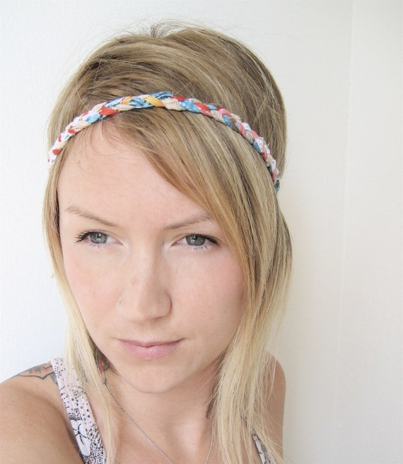 The Braided Headband- In Coral and Turquoise, bohemian style