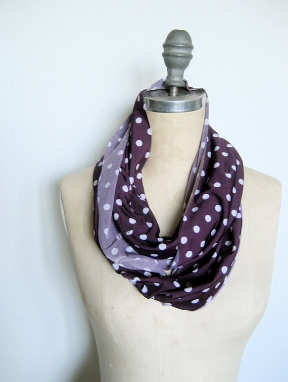Infinity Circle Scarf Soft Knit in Purple Polka Dot