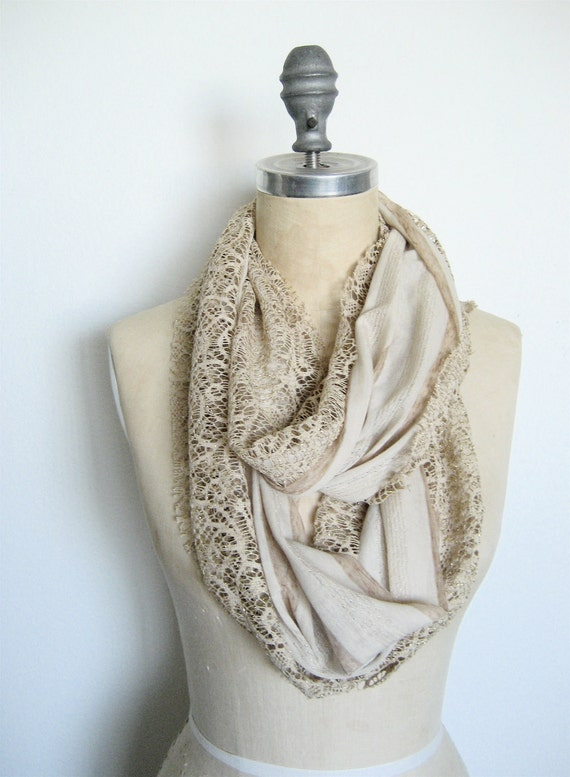Jersey and Lace Circle Scarf, Double Layer in Khaki Stripe and Gold Lace