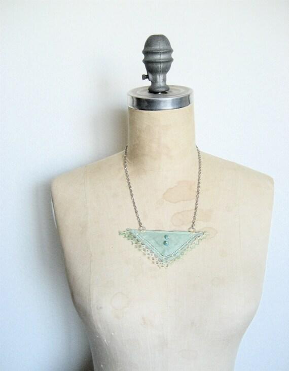 Vintage Handkerchief Necklace in Soft Mint Green