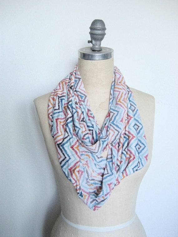 Infinity Circle Scarf Soft Knit in Rainbow Chevron Print