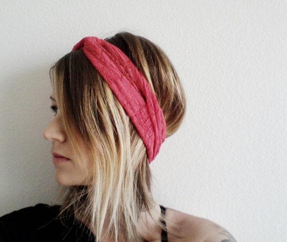 The Twist Turban Headband- In stretch Red Lace