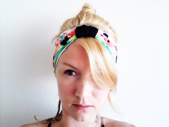 The Boho Turban Headband- In Neon Mint, Coral and Yellow