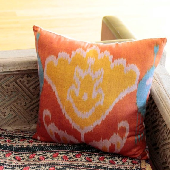 Ikat Throw Pillows Etsy : Rusty Orange Silk Ikat Throw Pillow by BranchandBirdie on Etsy