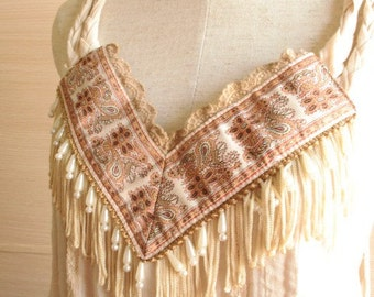 Fringed Embroidered Tasselled One-Piece Dress