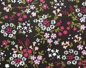 Antique Florals on Black - Japanese Cotton Fabric - Half Yard