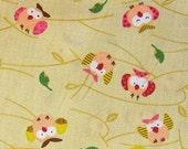 Happy Owls on Tan - Japanese Cotton Fabric - Half Yard