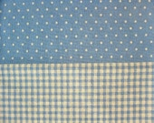 Dots and Plaids on Baby Blue - Japanese Cotton\/Linen Blend - Half Yard