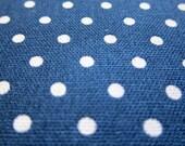 Japanese Cotton Linen Fabric - Polka Dots on Dark Blue - Half Yard