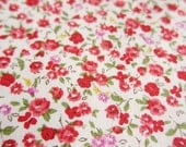Japanese Fabric - Floral Print Fabric By The Yard - Petite Blooms in Red - Half Yard