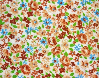 FREE SHIPPING Japanese Print Cotton Fabric - Brown and Green Floral Fabric (F001) - Fat Quarter