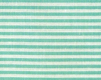 Japanese Fabric - Cotton Fabric By The Yard - Pin Stripes in Green - Half Yard