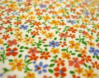 Japanese Fabric - Floral Print Fabric By The Yard - Butterfly Colors - Half Yard