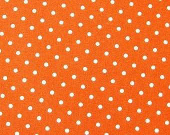 SALE Japanese Cotton Fabric - Tangerine Polka Dots Fabric By The Yard - Half Yard