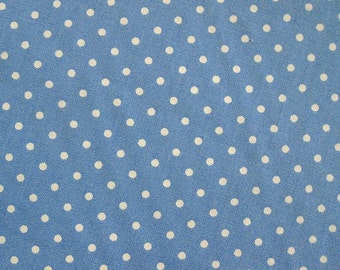 SALE Japanese Cotton Fabric - Baby Blue Polka Dots Fabric - Half Yard