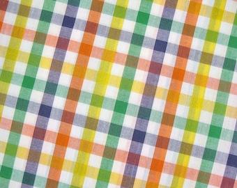 Japanese Fabric By The Yard - Rainbow Plaid Fabric - Cotton Fabric - Half Yard