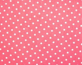 SALE Japanese Cotton Fabric - Bright Pink Polka Dots Fabric By The Yard - Half Yard