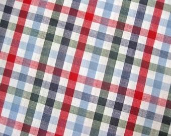 Japanese Fabric By The Yard - Baby Blue Plaid Fabric - Cotton Fabric - Half Yard