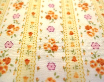 FREE SHIPPING Japanese Floral Cotton Fabric - Vintage Floral Stripes in Yellow (F022) - Fat Quarter