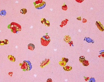FREE SHIPPING Cupcakes on Pink - Cotton Canvas Fabric (F032) - Fat Quarter