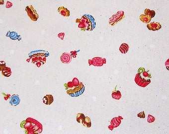 FREE SHIPPING Cotton Canvas Fabric - Cupcakes Fabric in Natural - Fat Quarter