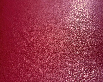 Faux Leather Fabric in Lambskin Pattern - Dark Red - Large Fat Quarter - Vegan Leather