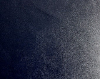 Faux Leather Fabric in Lambskin Pattern - Dark Navy - Large Fat Quarter