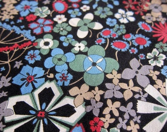 FREE SHIPPING Floral Kaleidoscope Fabric in Black - Japanese Cotton Fabric (F045) Fat Quarter