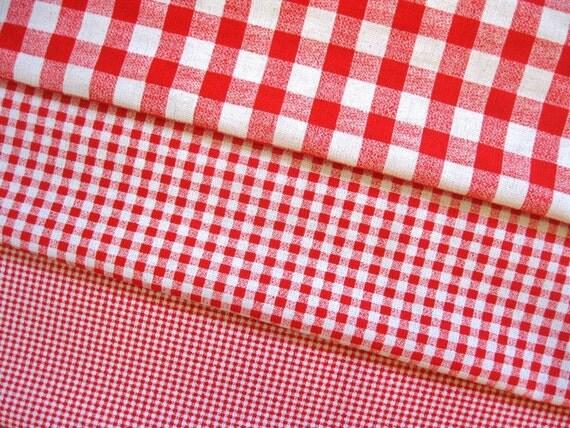 Japanese Cotton Linen Fabric - Triple Checks in Red - Half Yard