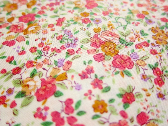Japanese Fabric - Shabby Chic Floral on Cream - Fat Quarter