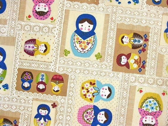Japanese Cotton Fabric - Kokka Russian Dolls in Blue - Half Yard