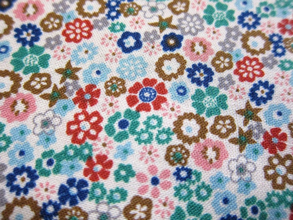 FREE SHIPPING Japanese Floral Fabric - Stars and Blooms Fabric in Blue - (F034) Fat Quarter