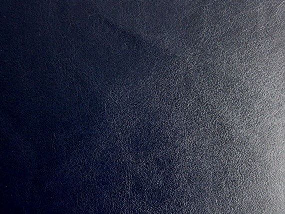 Suede Upholstery Fabric >> Faux Leather Fabric in Lambskin Pattern Dark Navy Half