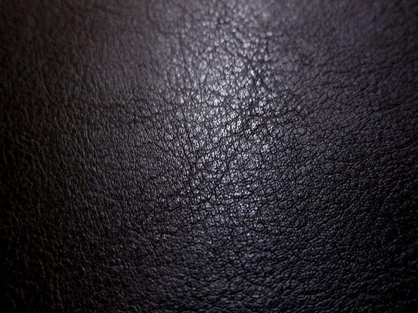 Faux Leather Fabric In Lambskin Pattern Black Half