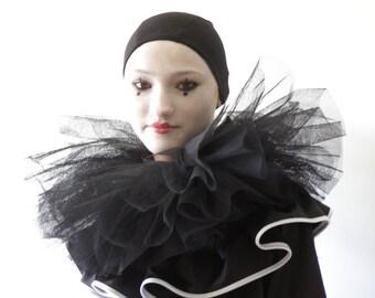 Black Pierrot Costume,Satin costume,gothic costume, Commedia dell'Arte costume