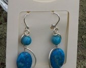 Chrysocolla and dyed jasper earrings