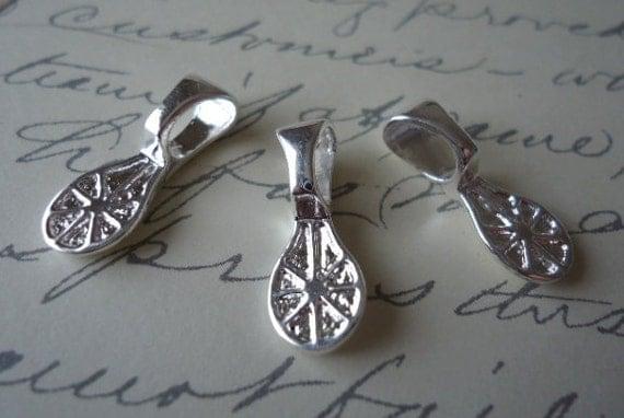 10 Medium Teardrop Shaped Shiny Silver Pendant Bails