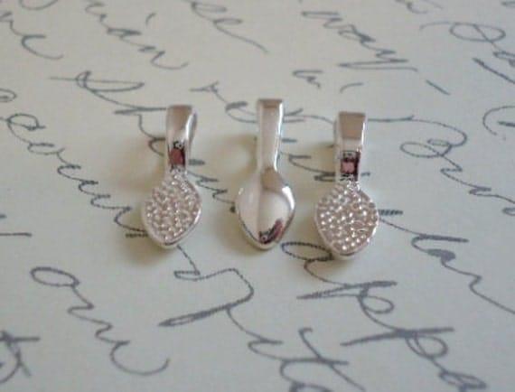 50 Small Teardrop Shaped Shiny Silver Pendant Bails