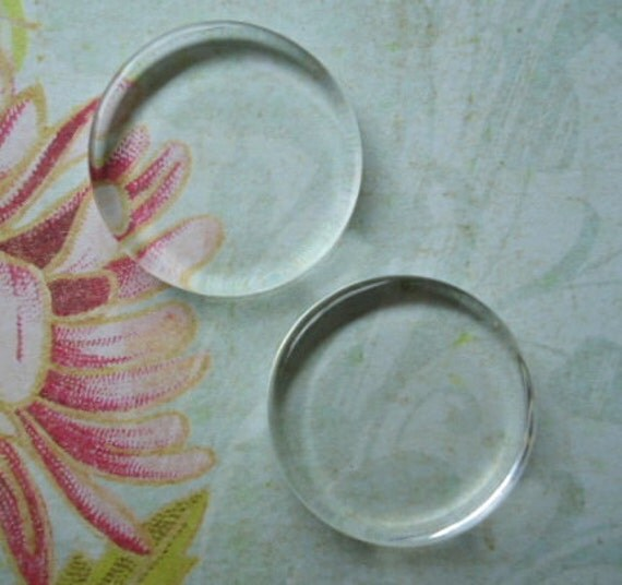 1 inch Clear Round Glass Pendant Tiles Circles Perfectly Smooth Edges Lot of 10